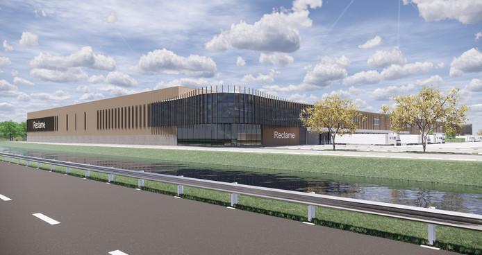 Het distributiecentrum dat volgend jaar langs de A326 in Wijchen wordt  gebouwd.