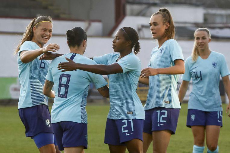 De ploeg van bondscoach Sarina Wiegman zegevierde in Shamrock Park met 0-5 over Noord-Ierland.  Beeld ANP Pro Shots