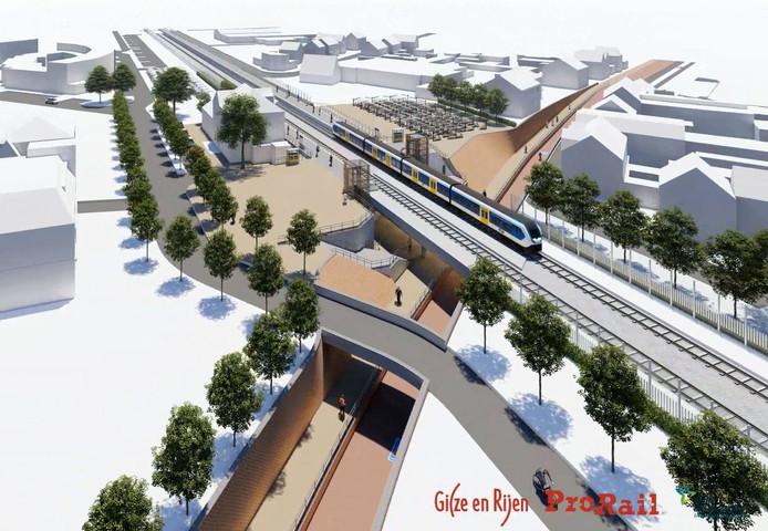 Beelden van de nieuwe spoorzone in Rijen van bovenaf van noord naar zuid met de tunnel in de Julianastraat onder het spoorviaduct. Bij aanleg moet het Rijksmonument op nummer 118 plaats maken en mogelijk een twintigtal woningen.
