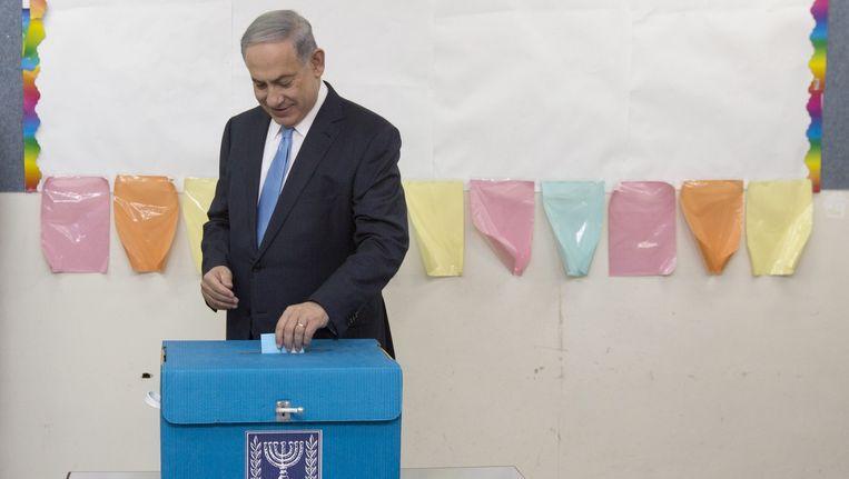 Netanyahu brengt zijn stem uit. Beeld afp