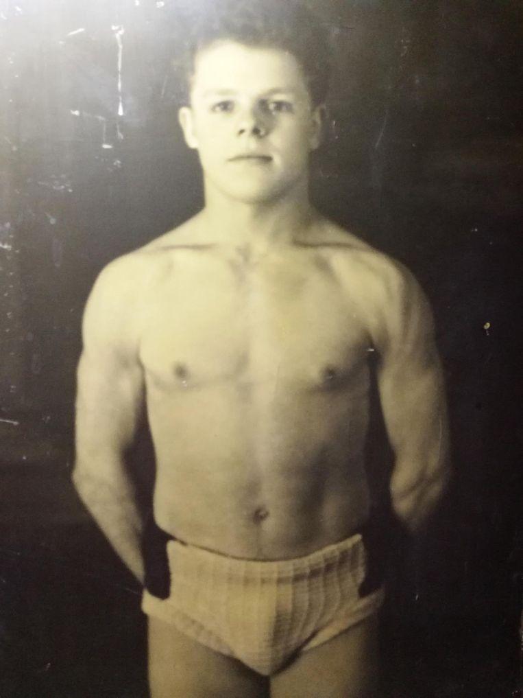 Als beginnend worstelaar in de jaren 50.