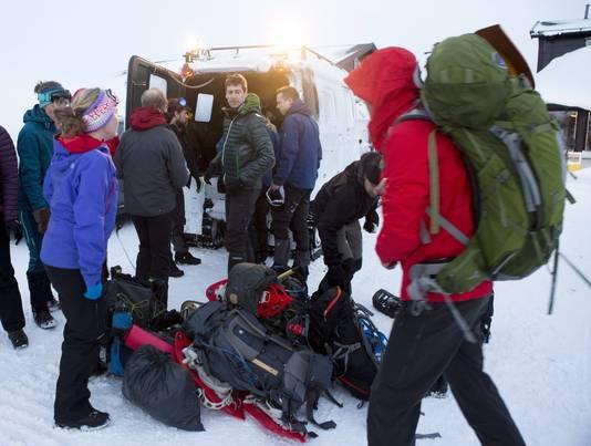 De reddingswerkers brachten de groep naar de plaats Grotli