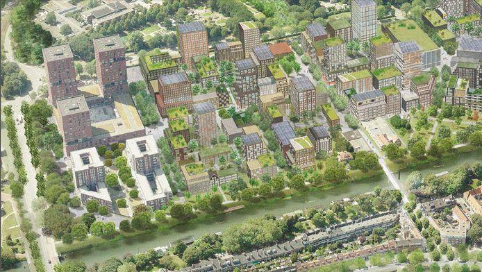Impressie van de Merwedekanaalzone, met links de trens van de reeds bestaande City Campus Max.