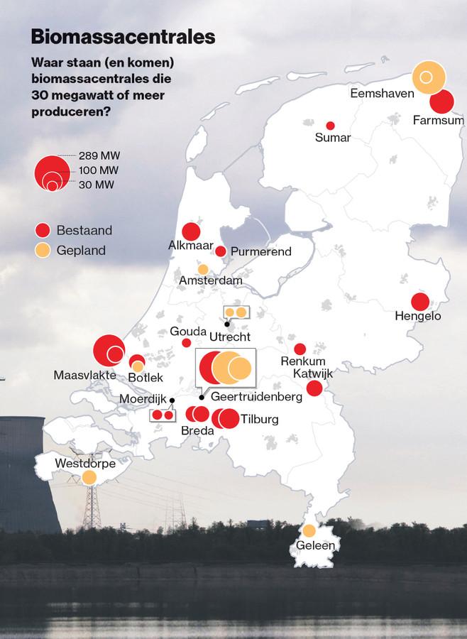 Bestaande en geplande biomassacentrales in Nederland.
