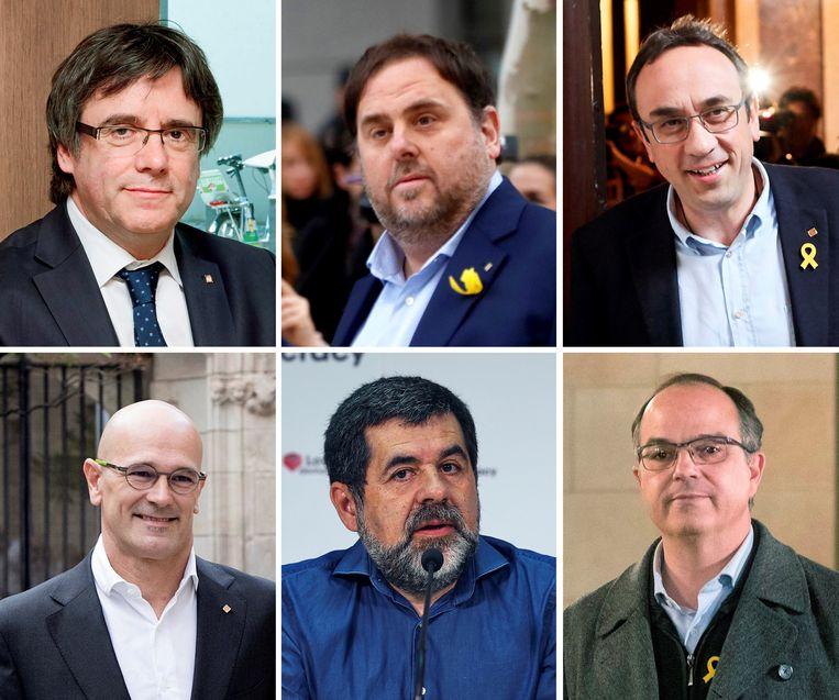 De naar ons land gevluchte Catalaanse ex-premier Carles Puigdemont (links, boventste rij) met de vijf gevangen verkozenen: Oriol Junqueras, Josep Rull. Tweede rij (vlnr): Raül Romeva, Jordi Sànchez en Jordi Turull.