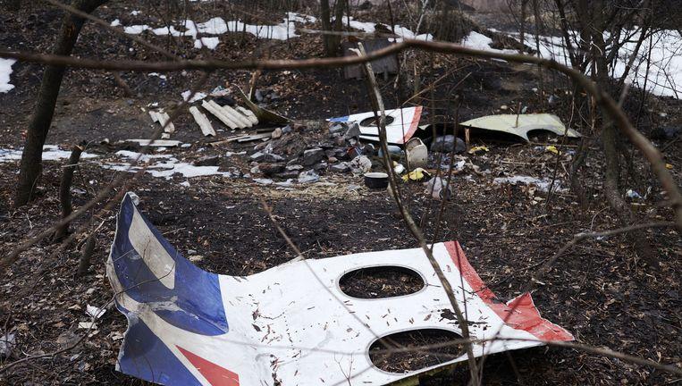 Brokstukken van de MH17 in Oost-Oekraïne. Beeld anp
