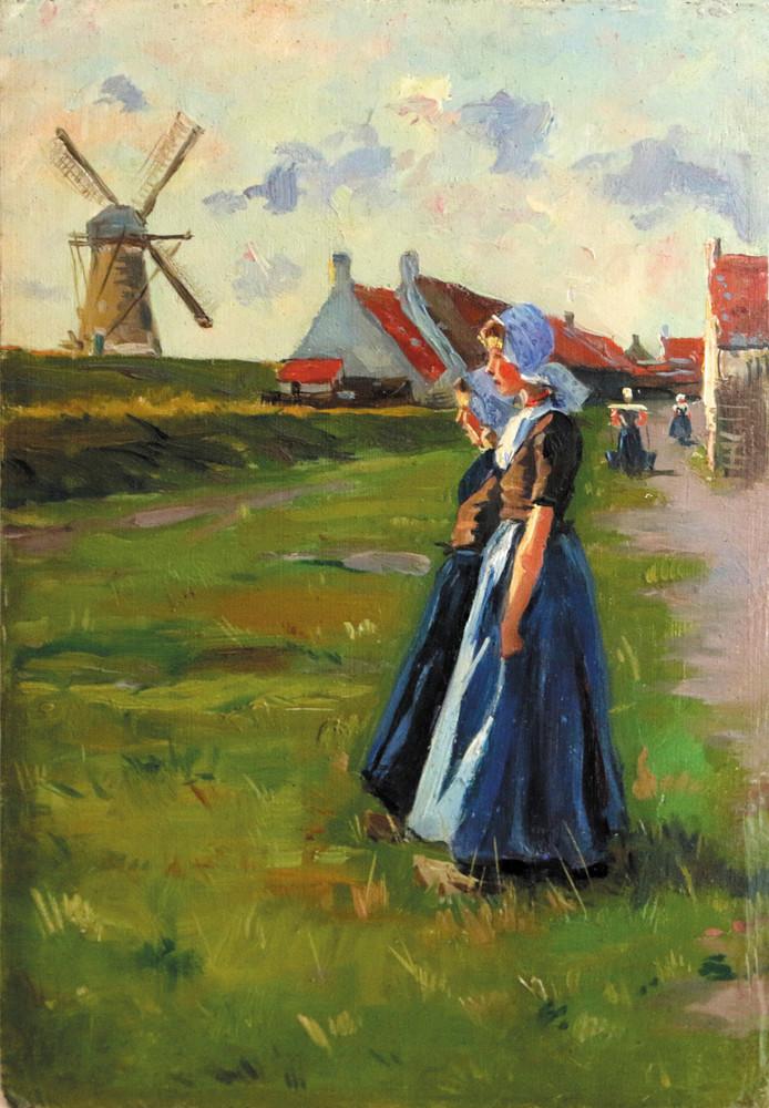 Albert Depré: Westkapelle, twee meisjes in streekdracht , olieverf op paneel.