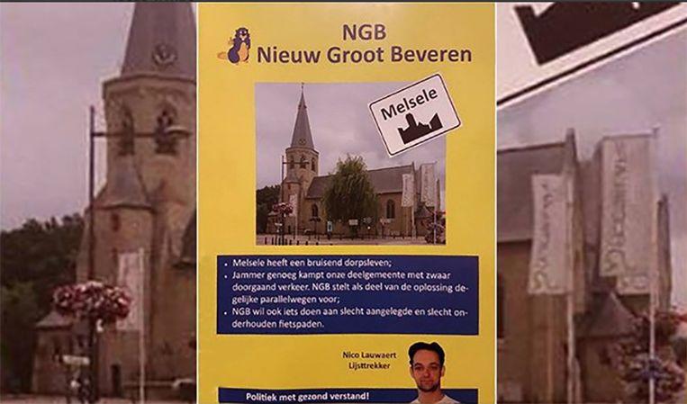 De bewuste kerk staat niet in Melsele (Beveren) maar in het West-Vlaamse Beveren (Roeselare), zo is rechts op de vlaggen te lezen.