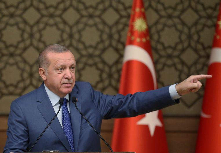 De Turkse president Recep Tayyip Erdogan vandaag.