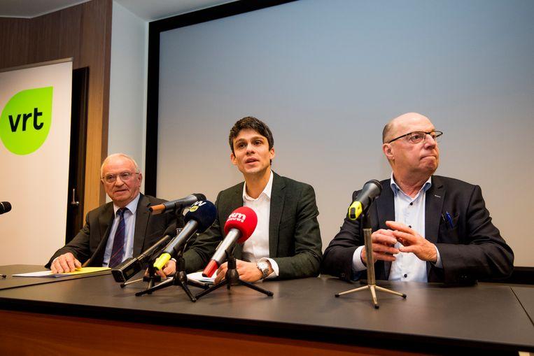 VRT-voorzitter Luc Van den Brande, Minister van Media Benjamin Dalle (CD&V) en Leo Hellemans.