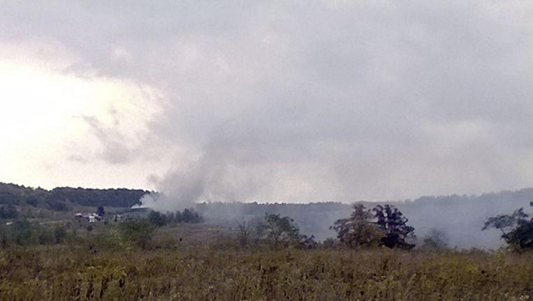 Rook van de brand bij het monument Beeld ap