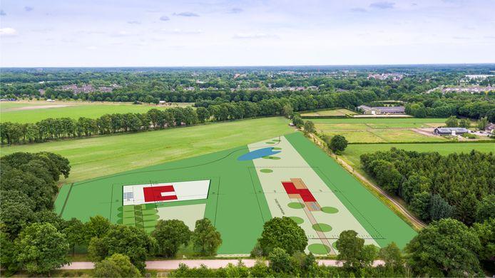 Het nieuwe landgoed  Leijvennen. De grootte van de kavels zijn inmiddels aangepast. Dit is de oorspronkelijke opzet.
