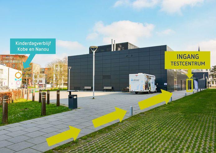 Het testcentrum op de site van het AZ Jan Palfijn, voor wie geen of lichte symptomen heeft.
