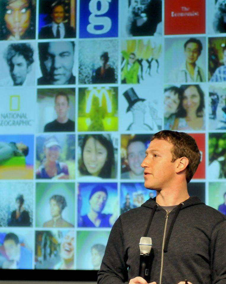 Mark Zuckerberg op het hoofdkantoor van Facebook. Beeld afp