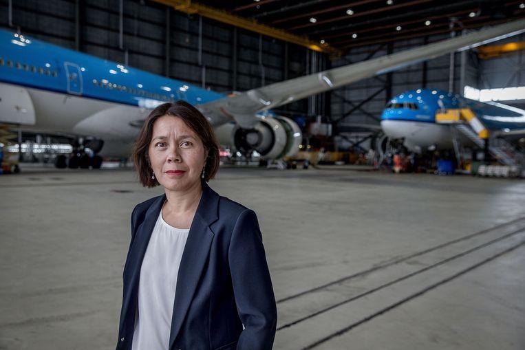 Inka Pieter, directeur duurzaamheid en sociale verantwoordelijkheid bij KLM. Beeld Jean-Pierre Jans