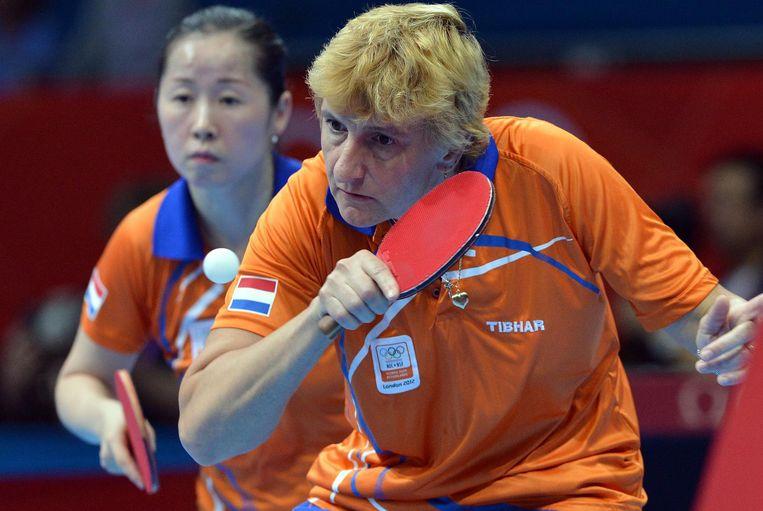 Li Jiao en Elena Timina in actie Beeld anp