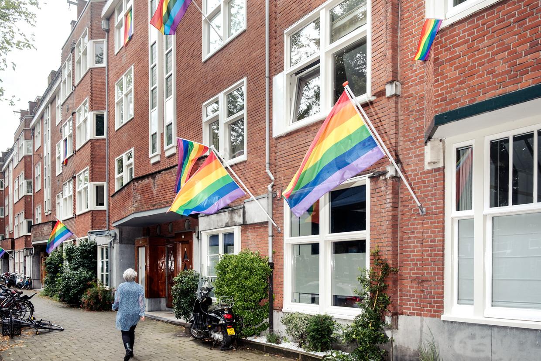 De regenboogvlaggen in de Churchill-laan Beeld Jakob Van Vliet
