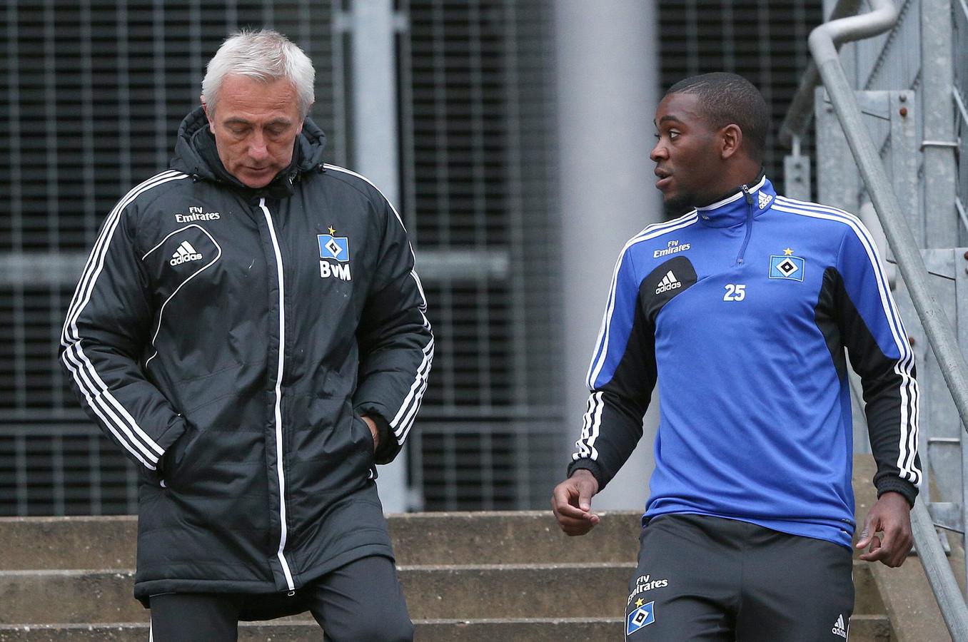 Als trainer van HSV met Ola John.