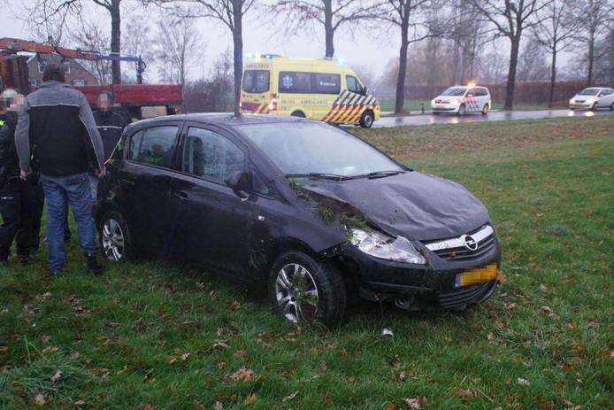 De bestuurster eindigde in een weiland nadat ze de macht over het stuur verloor.