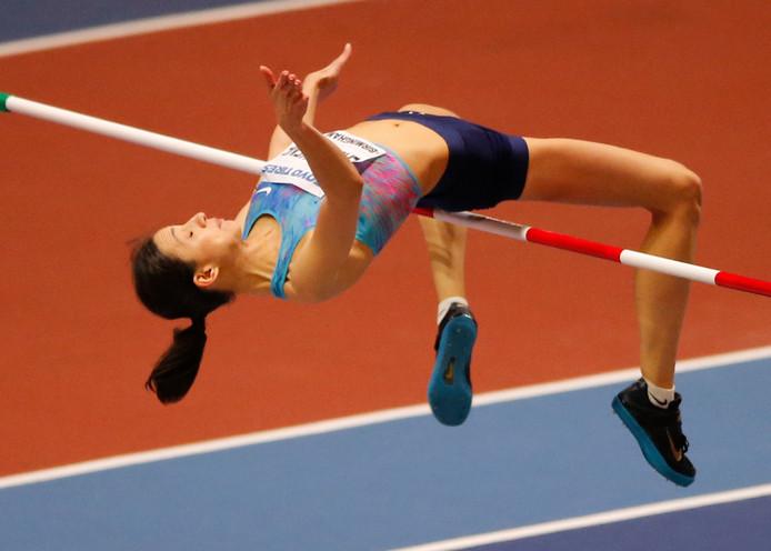 Maria Lasitskene tijdens het WK indoor in Birmingham vorig jaar.