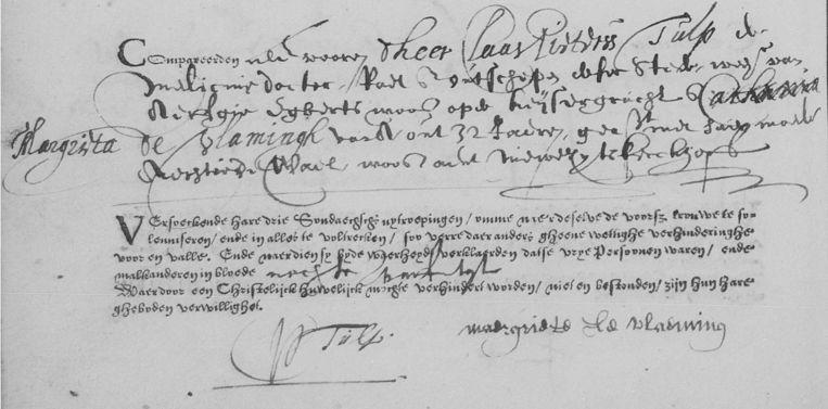 Een ondertrouwakte uit 1630. Dankzij de hulp van vijfhonderd vrijwilligers werden dit soort documenten toegankelijk voor onderzoek. Beeld