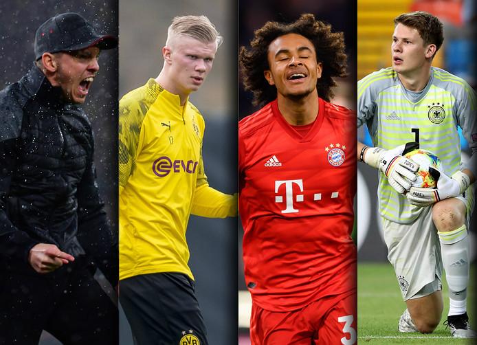 Vlnr: Leipzig-trainer Jürgen Nagelsmann, Dortmund-aankoop Erling Haaland, Bayern-revelatie Joshua Zirkzee en Schalke-doelman Alexander Nübel.