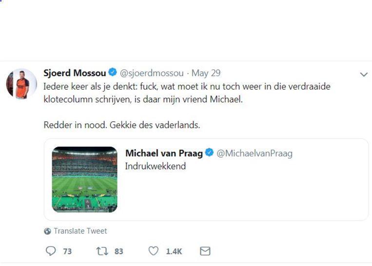 Tweet van AD-journalist Sjoerd Mossou over Michael van Praag. Beeld null