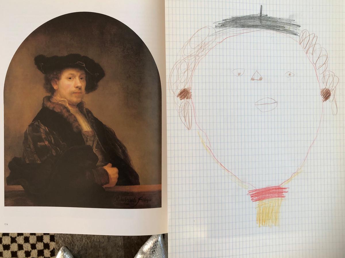 'Opa en oma zijn, toen ze nog bij opa en oma kwamen, ook aan het lesgeven geweest. Opa had de opdracht gegeven om Rembrandt na te schilderen. Dat heeft Sel, 4 jaar, met alle liefde gedaan!'