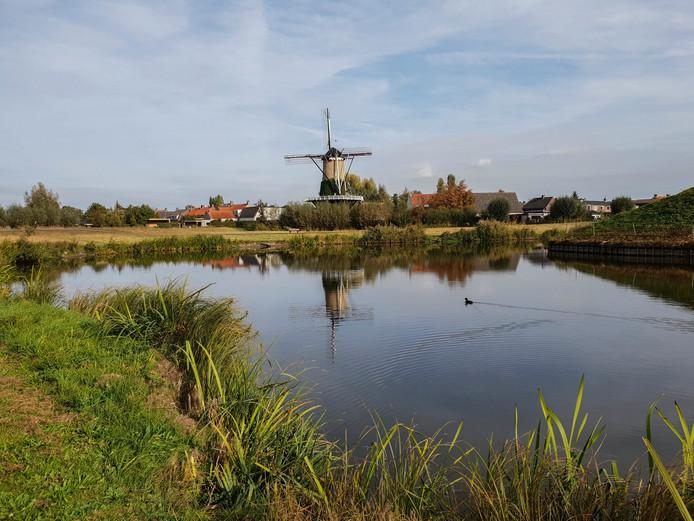 Foto van de Kleine Schans en molen De Arend in Terheijden.