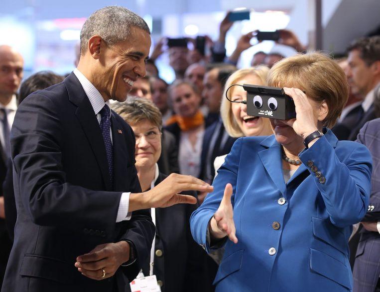 Obama en Merkel tijdens de Hannover Messe. Beeld epa