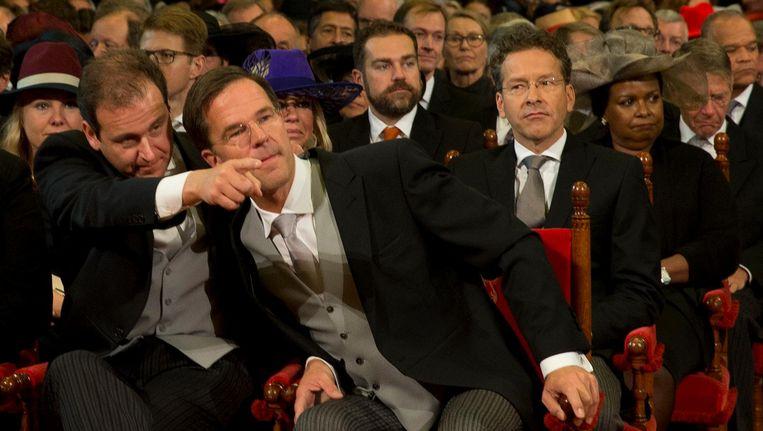 Minister Asscher, premier Rutte en minister Dijsselbloem tijdens de troonrede op Prinsjesdag Beeld anp