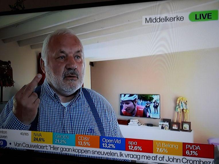 Dedecker toont op tv hoe de kiezer geoordeeld heeft.