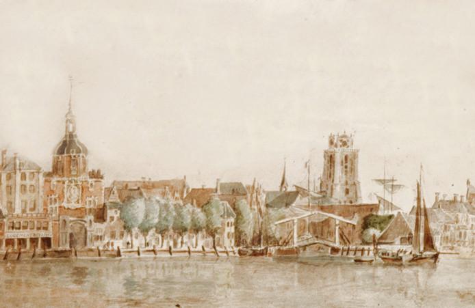 De houten Damiatebrug, omstreeks 1790.