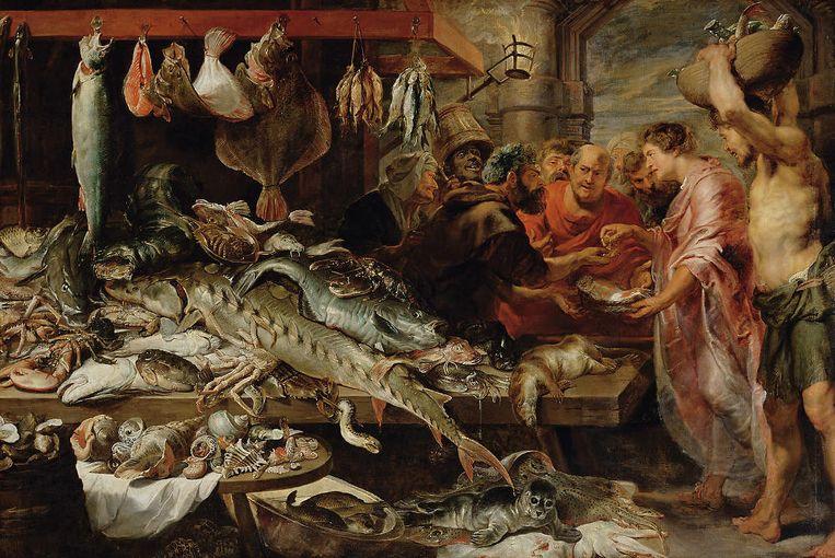 Frans Snyders en Anthonie van Dyck, 'Vismarkt', ca. 1621. 'Die platvis bovenin, is dat een heilbot of een tarbot? En is het gebruikelijk dat deze aan twee kanten wordt opgehangen?' Beeld