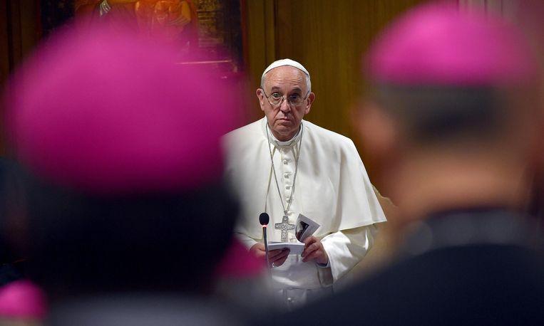 Paus Franciscus op de bisschoppenconferentie die momenteel in Rome plaatsvindt.