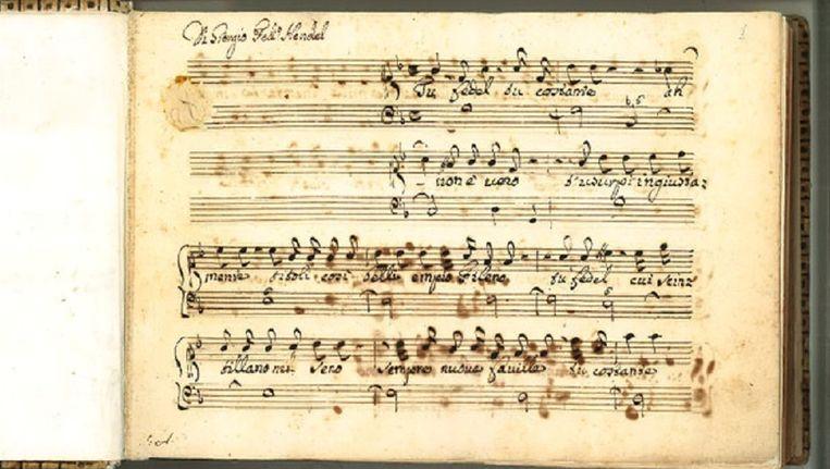 De eerste pagina van het manuscript van Händel Beeld Eline Holl