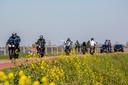 Motorrijders op de dijk bij het Betuwse dorp Zennewijnen.
