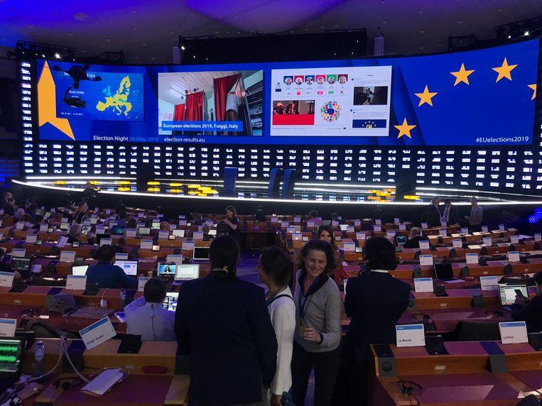 De plenaire vergaderzaal van het Europees Parlement in Brussel. Beeld Christoph Schmidt