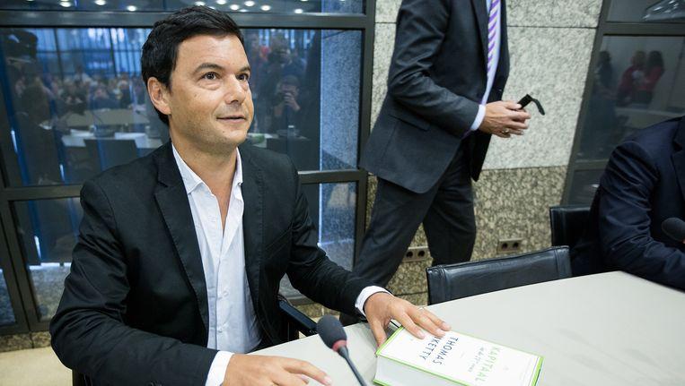 Thomas Piketty, de Franse econoom en auteur van Kapitaal in de 21ste eeuw, tijdens een gesprek in de Tweede Kamer. Beeld anp