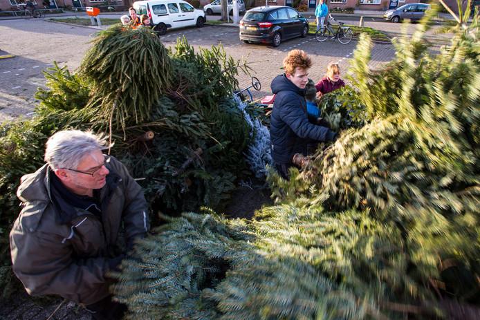 In Ruurlo werden in totaal 358 kerstbomen ingezameld en ingeleverd op het Zuivelplein.
