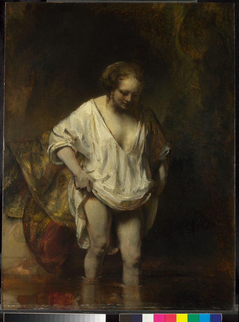 Rembrandt, A Woman bathing in a Stream. Beeld The National Gallery, London