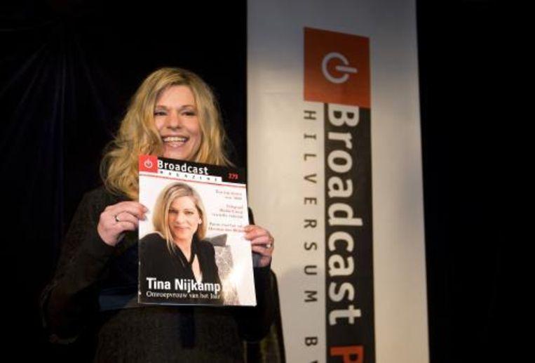 Tina Nijkamp, programmaleider van SBS6, is door mediavakblad Broadcast Magazine uitgeroepen tot Omroepvrouw van het Jaar 2008. ANP Photo Beeld