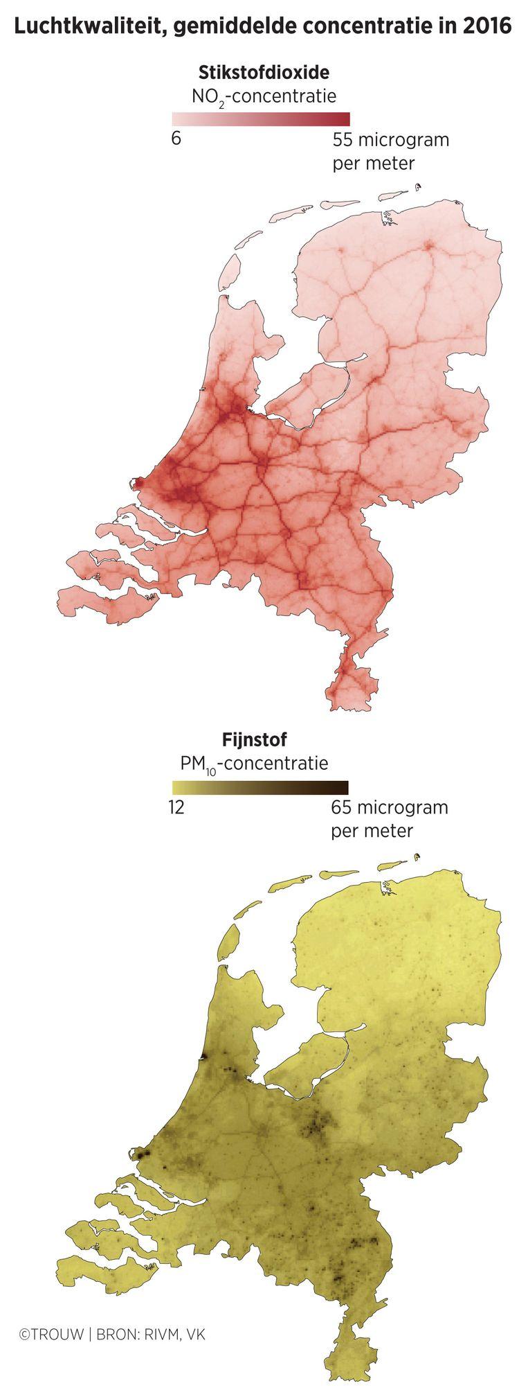 Luchtkwaliteit in 2016. Beeld Trouw, Sander Soewargana