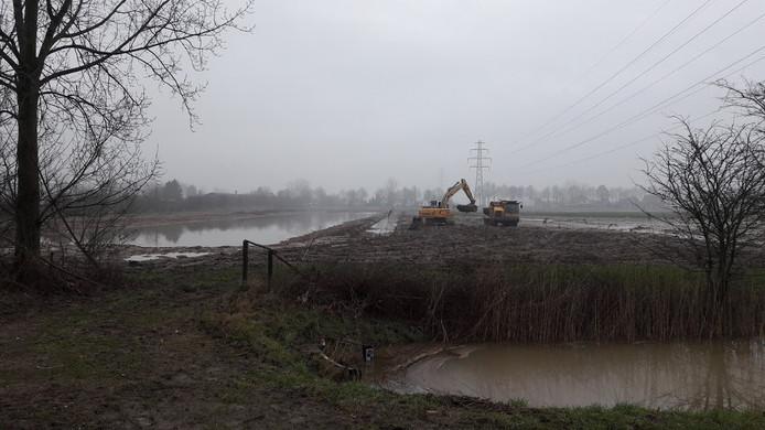 De waterpartijen worden aangelegd op Nudepark 2 in Wageningen
