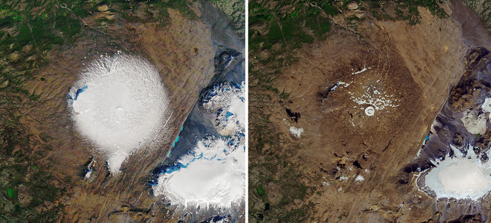 Images satellitaires du glacier Okjokull, surnommé Ok: à gauche, le 7 septembre 1986, à droite le 1er août 2019.