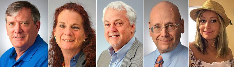 De vijf dodelijke slachtoffers van de schietpartij bij The Capital Gazette (v.l.n.r.): John McNamara, Wendi Winters, Rob Hiaasen, Gerald Fischman en Rebecca Smith.