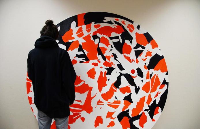 Met zijn kunstwerk '¿ = ¿' (PI = INFINITY), I 2016.