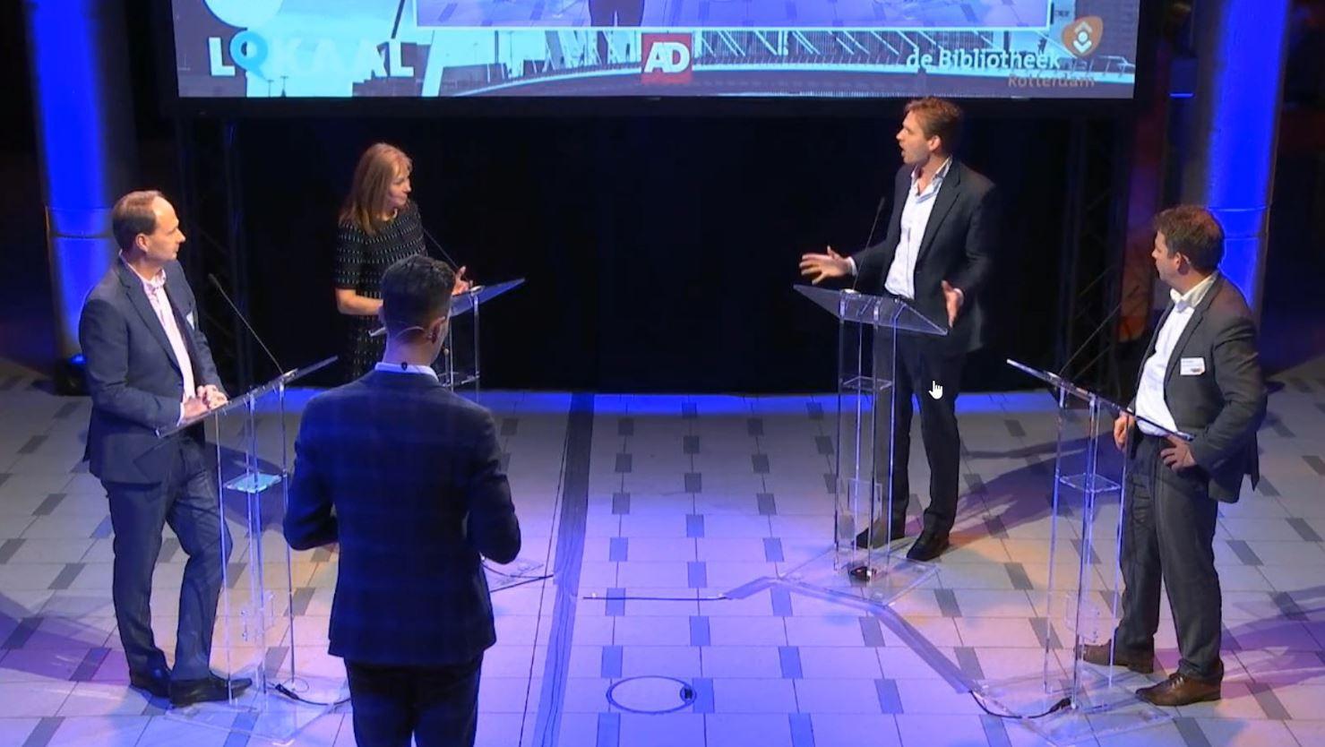 Judith Bokhove (GroenLinks) in debat met Vincent Karremans (VVD).