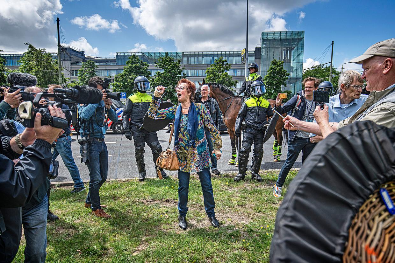 Vorige week kwamen er duizenden mensen naar het Malieveld om te protesteren tegen het coronabeleid. Zondag bleef het relatief rustig.  Beeld Guus Dubbelman / de Volkskrant
