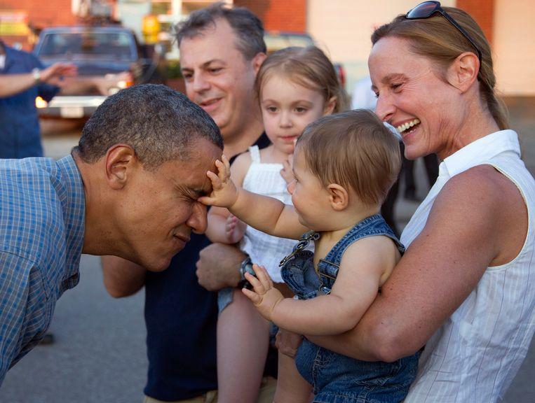 Barack Obama tijdens zijn campagne op de jaarmarkt in Iowa.